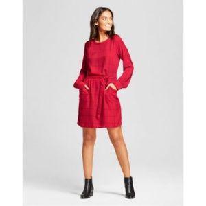 A New Day Sz XL Red windowpane plaid shirt dress